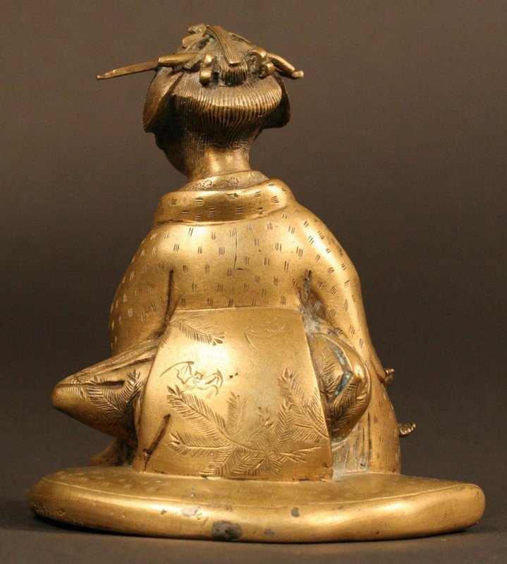 Charming Japanese Bronze Sculpture of Yamauba,19th Cty.