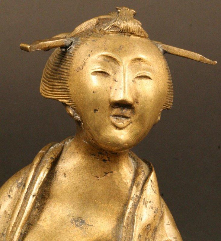 Charming Japanese Bronze Sculpture of Yamauba,19th Cty.
