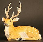Kibori Single Chop Carving of a Stag signed by Ika Goyo