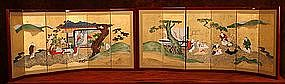 Pair of Table Top Gold Leaf Japanese Screen Paintings
