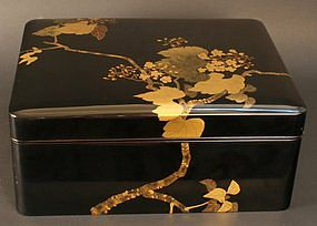 19th C. Black and Gold Flower and Foliage Lacquer Box