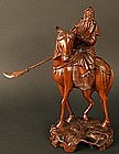 Chinese Boxwood Sculpture of Warrior on a Horse
