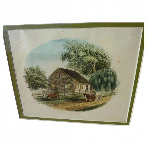 American watercolor drawing circa 1830s rural homestead scene