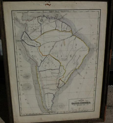 Map of South America 19th century drawn by American school girl