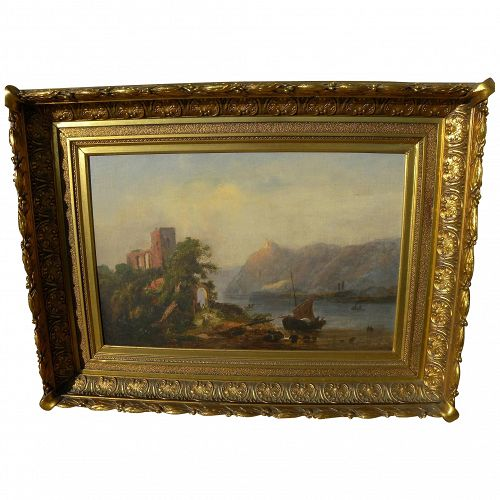 English 19th century landscape with ruins possibly by American hand