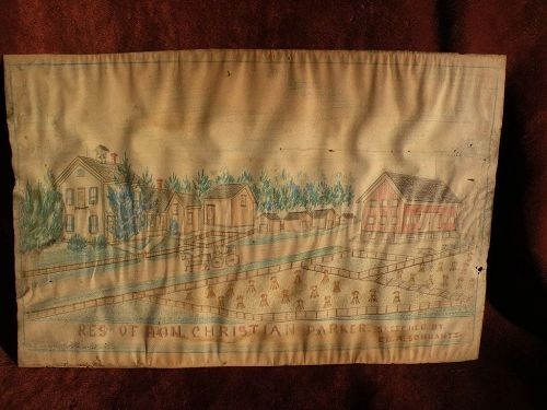 American folk art Indiana drawing of early estate homestead