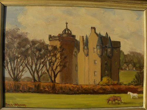 Scottish impressionist painting castle and horses signed DICK MURRAY