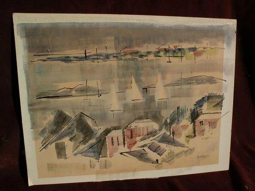 ALFRED BIRDSEY (1912-1996) Bermuda art original modernistic watercolor painting