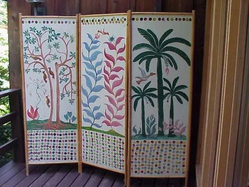 ADAM LEONTUS (1923-1986) Haitian art rare large painted room screen by well listed naive artist