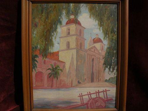 ARTHUR CARL WEIGLE vintage California plein air art 1930 painting of Santa Barbara Mission