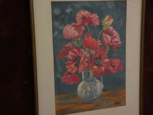 ALFRED OWLES (1894-1978) California art still floral watercolor painting