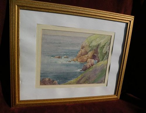 American art signed watercolor coastal painting with reverse study sketch signed