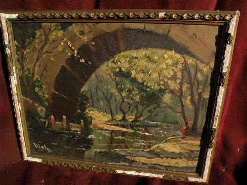 American impressionist signed landscape painting figures under an arched stone bridge by small river