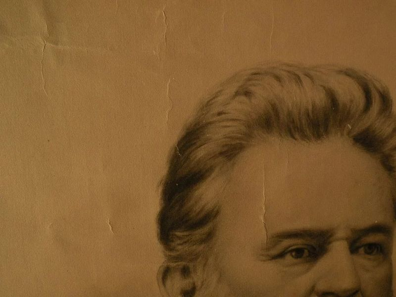 American 19th century charcoal on paper portrait of a man signed with initials