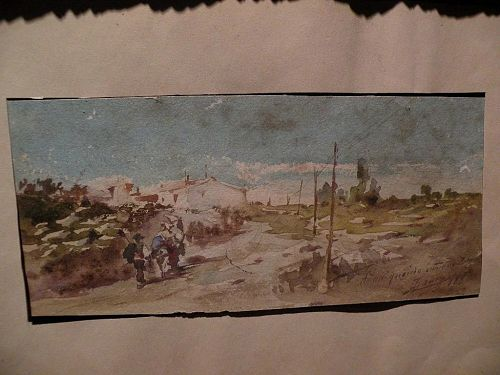 Antique Spanish watercolor painting signed and dated 1881