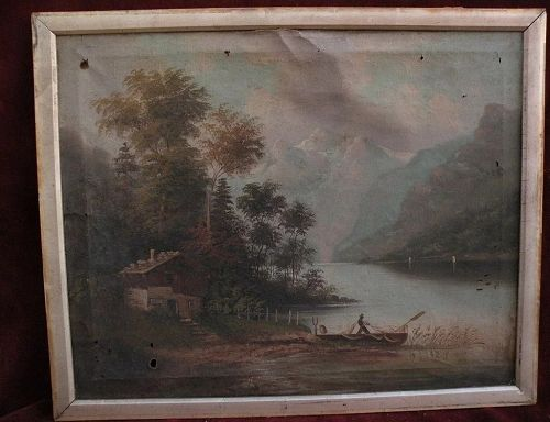 19th century European art mountains and lake landscape painting likely German or alpine