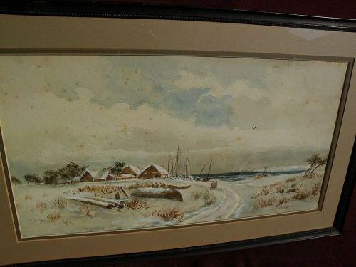 American watercolor primitive 19th century coastal winter landscape