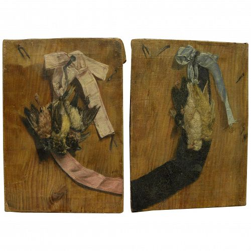 19th century PAIR signed paintings of songbirds trompe l'oeil style