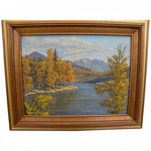 American impressionist autumn high mountain landscape signed by artist C H Wells