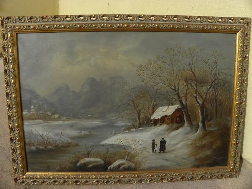 Antique painting late 19th century winter landscape with figures