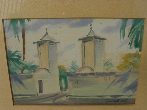 EMMETT FRITZ (1917-1995) St. Augustine Florida art watercolor