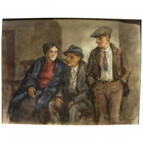 ALBERT ABRAMOVITZ (1879-1963) Social Realism WPA style 1930's watercolor painting