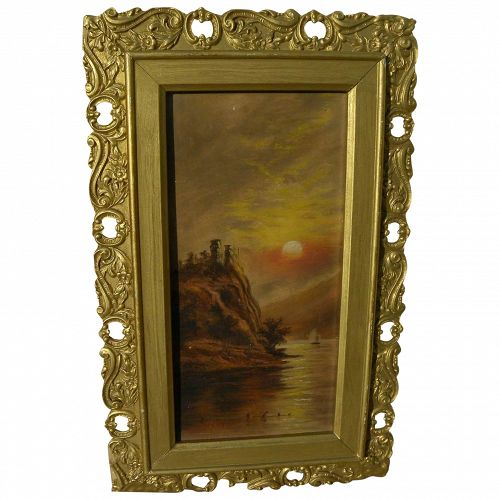 Naive vintage painting of lake at sunset circa 1900
