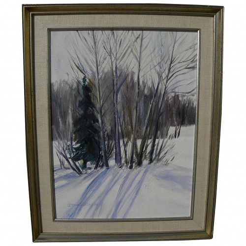 Impressionist winter landscape trees in the snow signed and dated 1986