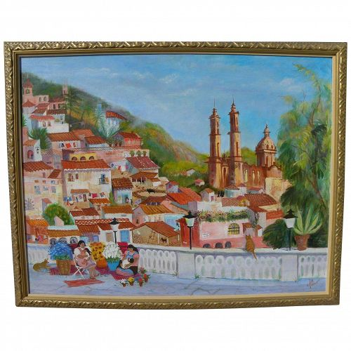 Colorful detailed contemporary naive style Mexican painting of church at Taxco and surrounding neighborhood