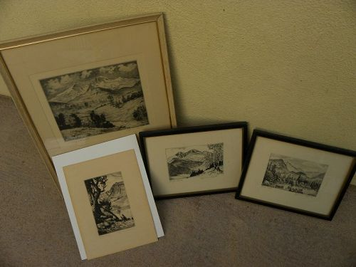 LYMAN BYXBE (1886-1980) noted Colorado artist FOUR etching prints