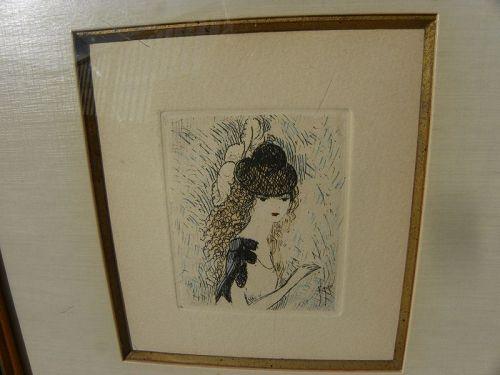 """MARIE LAURENCIN (1885-1956) etching  """"Le Chapeau sur les Yeux"""""""