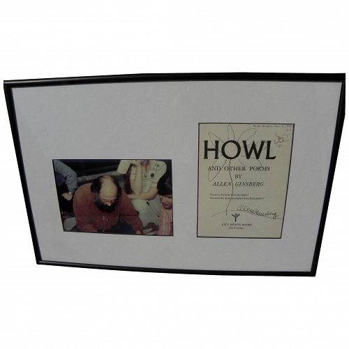 "ALLEN GINSBERG (1926-1997) original drawings and autograph on cover of ""HOWL"" by Beat figure"