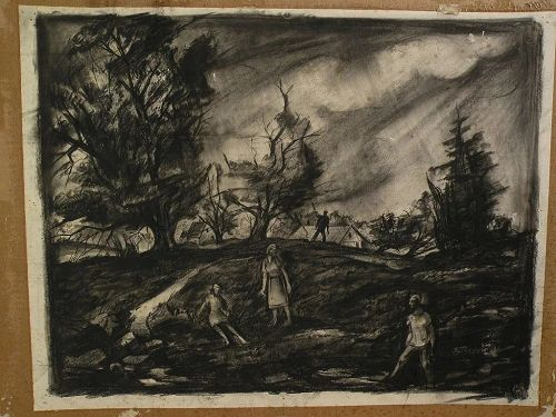 ERNEST W. SCANES (1909-1994) Michigan art well listed WPA Regionalist charcoal drawing