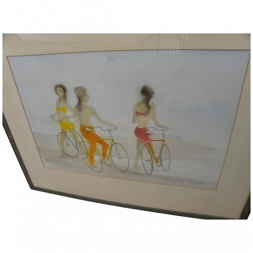 DOUGLASS PARSHALL (1899-1990) California art contemporary 1972 watercolor bicycle riders at beach