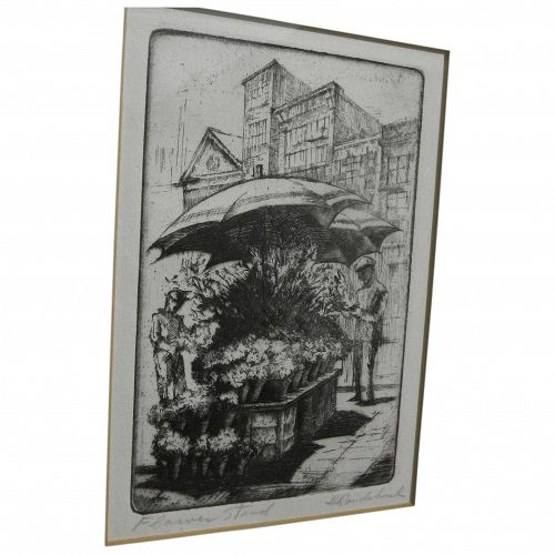 """HARRIET GENE ROUDEBUSH (1908-1998) pencil signed etching """"Flower Stand"""" by listed San Francisco artist"""