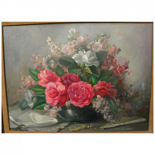 JOHN W. ORTH (1889-1976) impressionist floral still life by noted California and Texas painter