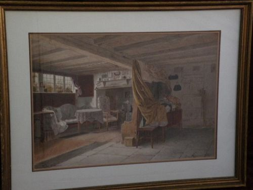 WALTER TOMLINSON  English Victorian art large watercolor painting Ann Hathaway