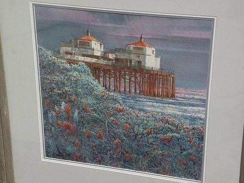 DON FAY (20th century California art) plein air watercolor painting of Malibu Pier