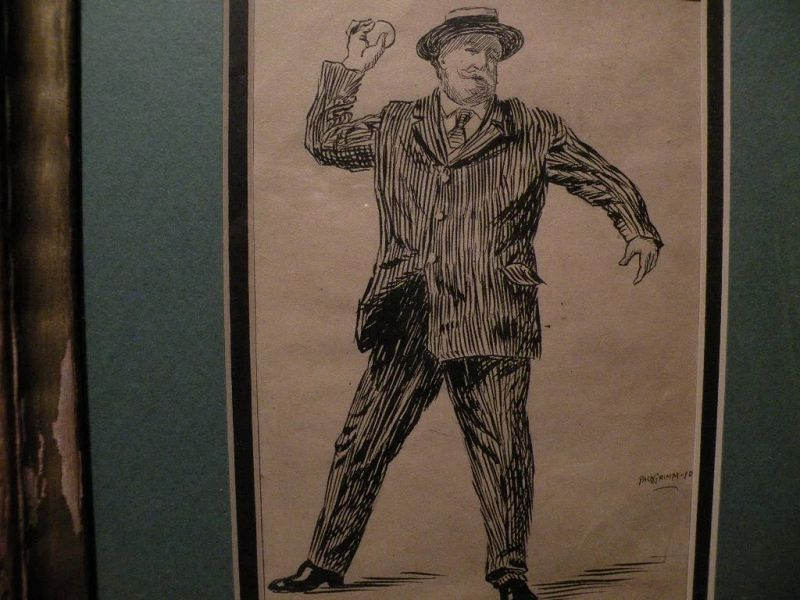 PAUL GRIMM (1892-1974) California art early illustration drawing of William Howard Taft throwing a baseball