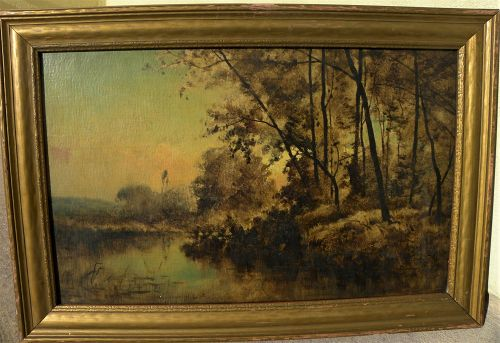 FRANK CLARK BROMLEY (1859-1890) American 19th century art Tonalist landscape painting by Illinois artist