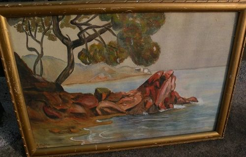 French 1927 watercolor painting likely French Riviera signed H CLOTTU�