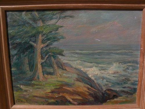 EDDA MAXWELL HEATH (1874-1972) Monterey California plein air art impressionist painting cypress trees at coast