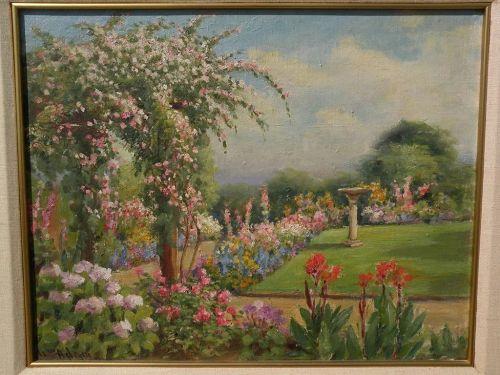 WILLIAM ADAM (1846-1931) California plein air art impressionist painting sunny garden