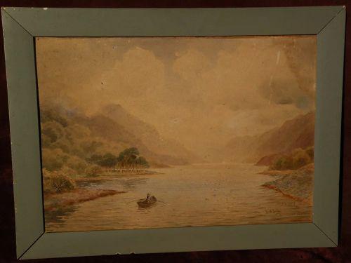 JOSEPH WM. CAREY (1859-1937) listed Irish art Scottish watercolor landscape painting 1920