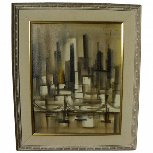 OZZ FRANCA (1928-1991) painting of city skyline by acclaimed California Mid Century artist