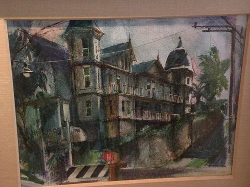 GEORGE GIBSON (1904-2001) major California watercolor art painting of old house dated 1958