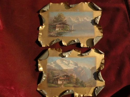 Swiss art 19th century PAIR of antique signed oil paintings of alpine chalets on tin