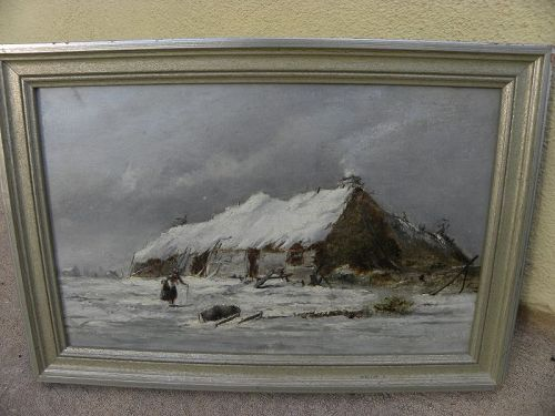 English 19th century painting winter scene like Old Master