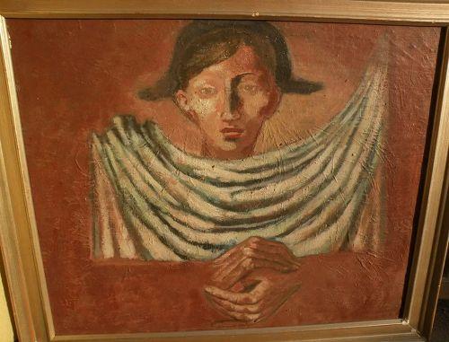 LUIS SAENZ DE LA CALZADA (1912-1994) Spanish art surrealist oil painting of harlequin