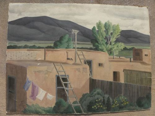 FRODE DANN (1892-1984) New Mexico landscape 1938 watercolor painting